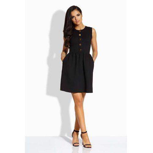 Czarna Sukienka Rozkloszowana bez Rękawów ze Złotymi Guzikami, kolor czarny