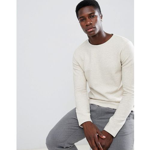 Selected Homme Long Sleeve T-Shirt With Textured Structure - Cream, kolor beżowy