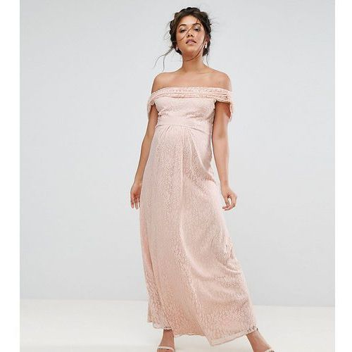 lace maxi dress with cowl front and back - pink, Queen bee