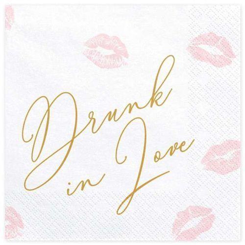 SERWETKI DRUNK IN LOVE BIAŁE 20szt