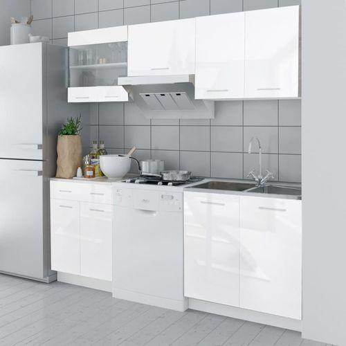 meble kuchenne białe na wysoki połysk 5 elementów (200 cm) marki Vidaxl
