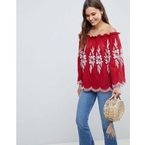 off shoulder embroidered top - red marki Qed london