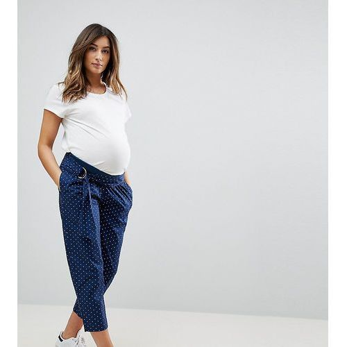 ASOS DESIGN Maternity soft peg trousers in polka dot with under the bump waistband - Blue
