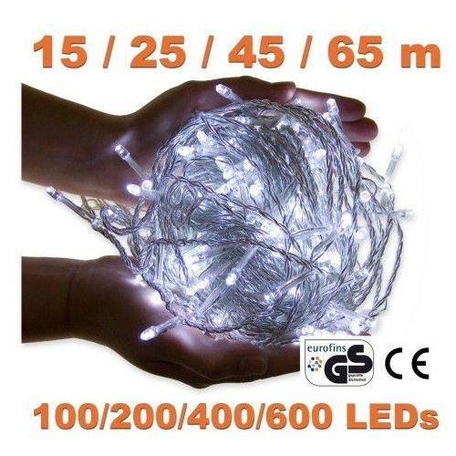 Białe lampki choinkowe na dom ogród 600 diod led - 600 led / 65 metrów marki Voltronic ®