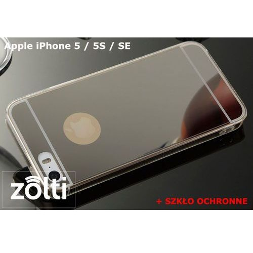 Slim mirror / perfect glass Zestaw | slim mirror case czarny + szkło ochronne perfect glass | etui dla apple iphone 5 / 5s / se