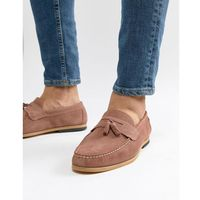 River island suede loafer with tassels in pink - pink