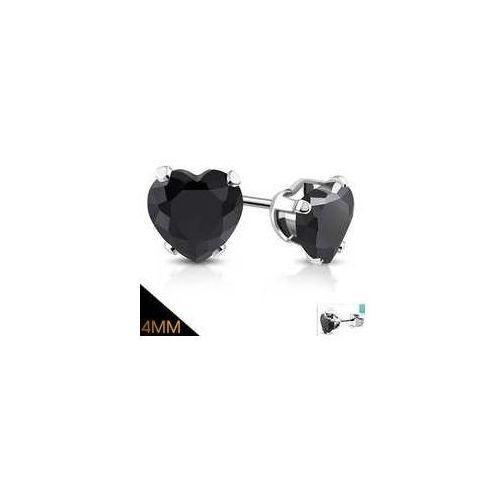 Kolczyki sztyfty serca z czarnym kamieniem 4 mm, ze stali nierdzewnej, stal 316l marki 925.pl