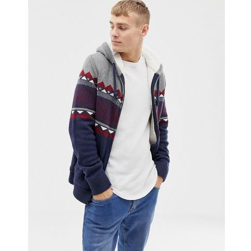 fairisle chest stripe hooded cardigan borg lined in navy - grey, Hollister
