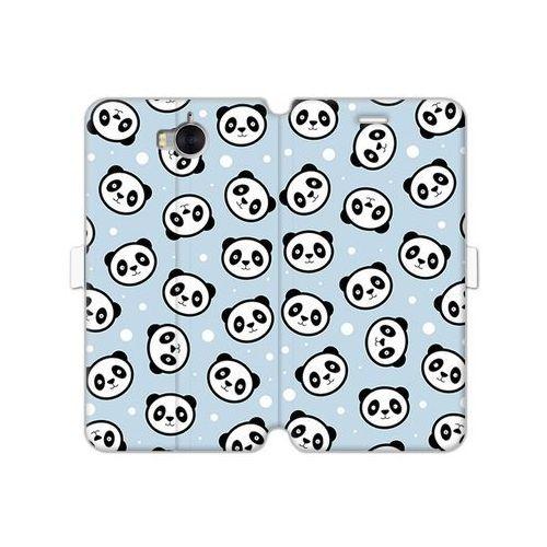 Huawei y6 (2017) - etui na telefon wallet book fantastic - panda na niebieskim tle marki Etuo wallet book fantastic