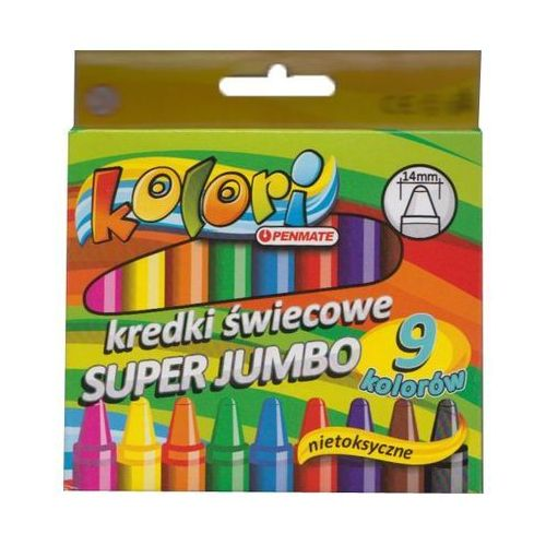 Penmate Kredki świecowe 9 kolorów super jumbo kolori