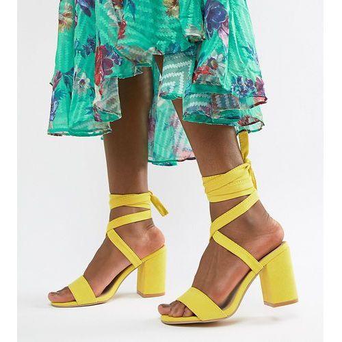 Park Lane Tie Leg Block Heeled Sandals - Yellow, kolor żółty