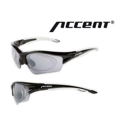610-40-86_ACC Okulary ACCENT Wind czarno - grafitowe matowe z adapterem, 2 pary soczewek