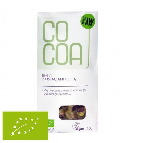 Czekolada surowa biała z pistacjami i solą 50g marki Cocoa