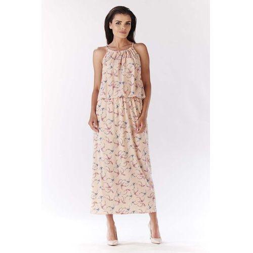 Awama Różowa długa wzorzysta sukienka wiązana na karku - ptaki