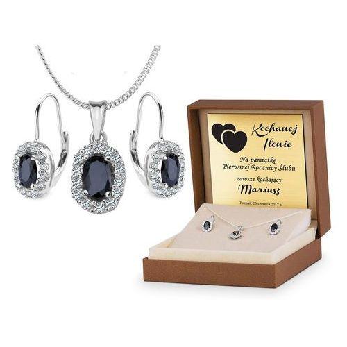 Srebrny Komplet Zestaw Biżuterii 925 z GRAWEREM YS10, kolor szary