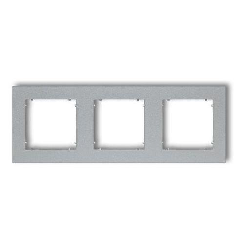 Ramka potrójna Karlik Mini 7MR-3 uniwersalna srebrny metalik, kolor srebrny