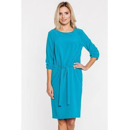 Turkusowa sukienka z wiązaniem w pasie - SU, kolor zielony