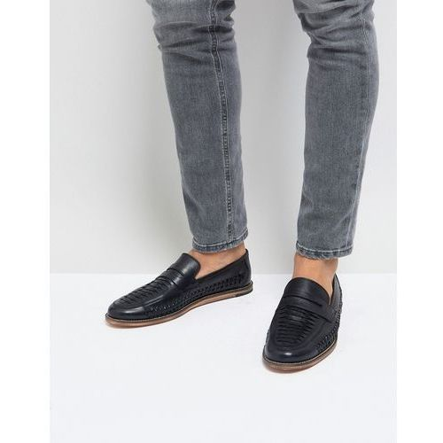 woven loafers in black leather - black, Silver street