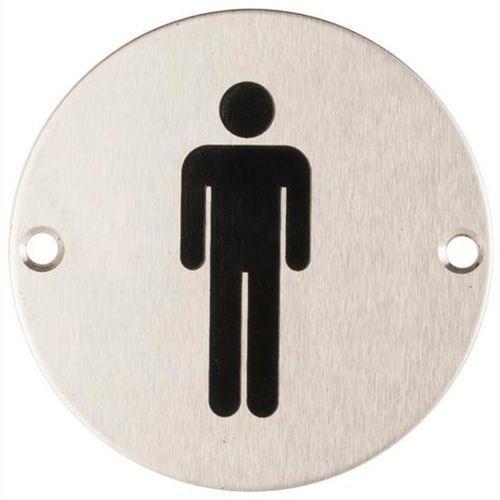 Oznaczenie toalet metalowe okrągłe - WC męskie mocowane na wkręty (5902767346634)