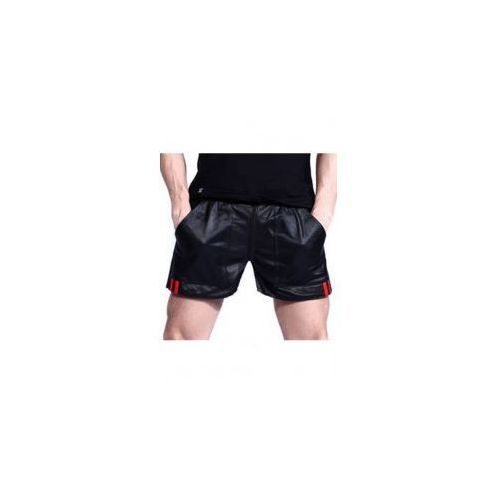 BOXER Leather zipper short with pockets Black Red stripes, Rozmiar - M