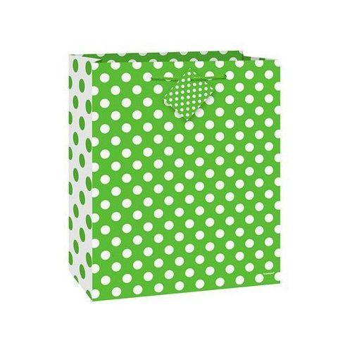 Torebka prezentowa zielona w białe kropeczki 27x32 cm - 1 szt. marki Unique