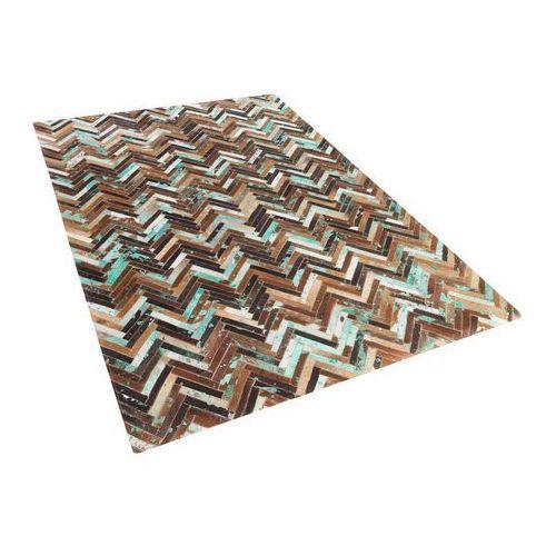 Beliani Dywan - brązowo - beżowo - niebieski - skóra - 140x200 cm - amasya