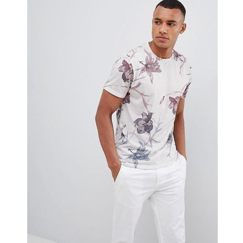Burton Menswear Floral Print T-Shirt In Grey And Pink - Pink