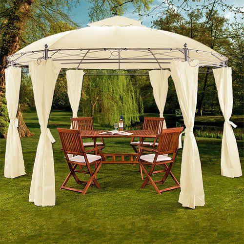 OKRĄGŁY NAMIOT PAWILON OGRODOWY 350 cm BEŻOWY - Beżowy - produkt z kategorii- Pawilony i namioty ogrodowe