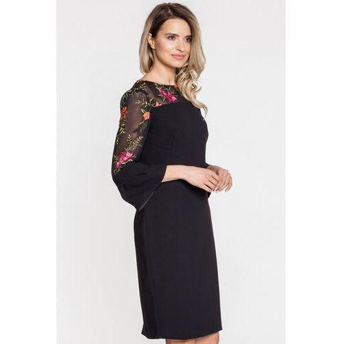 57c5ec7c8f Czarna sukienka wizytowa z kwiatowym wyszyciem - Paola Collection