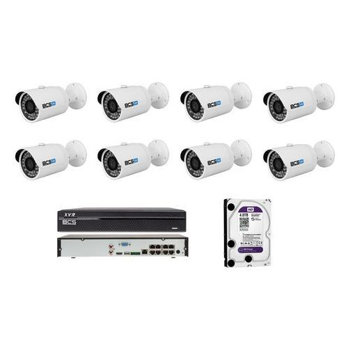 BCS-TIP3300IR-E-III Zestaw BCS na 8 kamer 3 Mpx 4TB HDD Rejestrator PoE. Idealny do obserwacji domu, sklepu, ogrodu lub firmy.