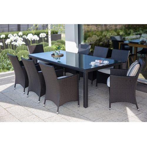 zestaw 2 krzeseł ogrodowych ciemnobrązowy poducha biała italy marki Beliani