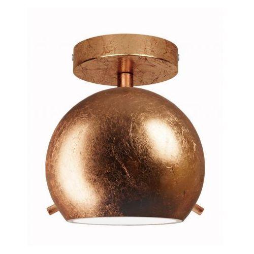 Plafon LAMPA sufitowa MYOO ELEMENTARY CP 1/C/COPPER LEAVES/OPAL Sotto Luce szklana OPRAWA kula ball miedź, MYOO ELEMENT CP 1/C/COP LEAF/OP