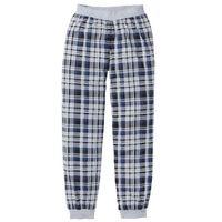 Spodnie do spania z dżerseju bonprix jasnoszary melanż w kratę, kolor szary