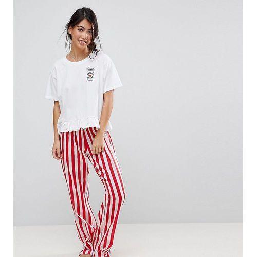embroidered espresso yourself trouser and tee pyjama set - multi marki Asos petite