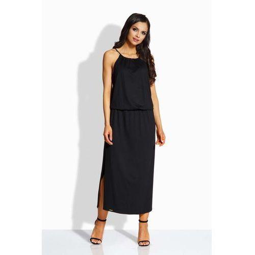 Czarna Maxi Sukienka z Rozcięciem, w 2 rozmiarach