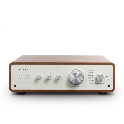 drive, cyfrowy wzmacniacz stereo, 2 x 170 w/4 x 85 w rms, wejście aux/phono/koncentryczne, orzech włoski marki Numan