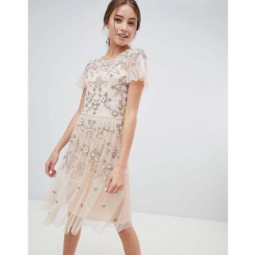 midi dress with all over embellishment - pink, Miss selfridge