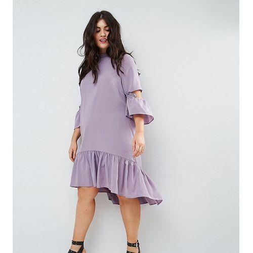 Asos curve tea midi dress with ruffle - purple