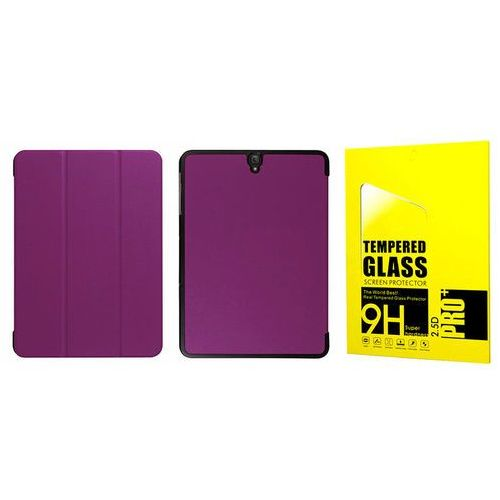 Etui book cover Samsung Galaxy Tab S3 9.7 fioletowe + Szkło - Fioletowy, kolor fioletowy