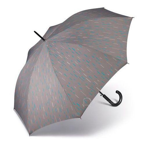 Happy Rain Essentials Classic długi damski parasol automatyczny Long AC - szary w kreski