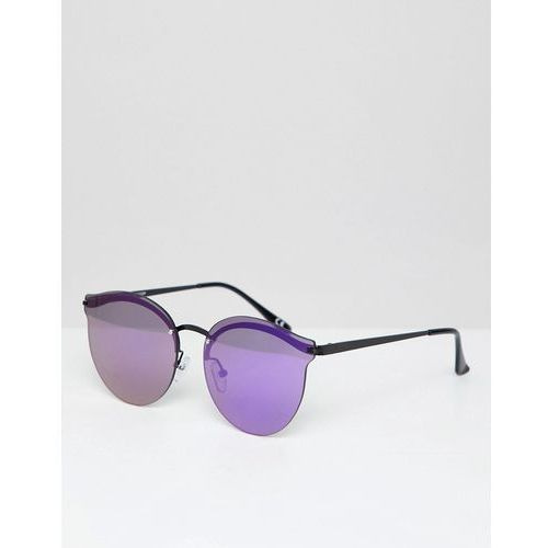 ASOS DESIGN Round Sunglasses In Black With Purple Mirrored Laid On Lens - Black