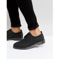 Asos lace up derby shoes in black leather with ribbed sole - black