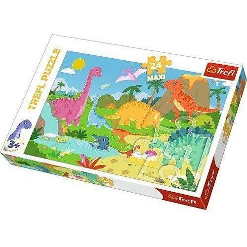 Puzzle 24 maxi w świecie dinozaurów marki Trefl