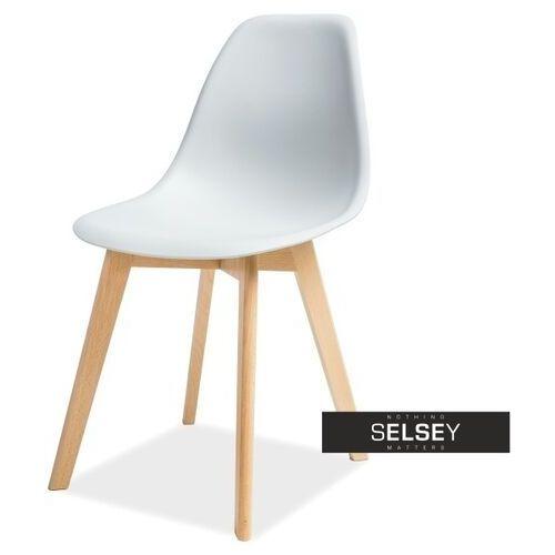 SELSEY Krzesło Estella jasnoszare - buk (5903025287874)