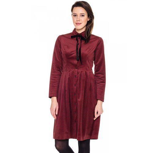 Czerwona sukienka z weluru w kratkę -  marki Bialcon