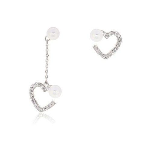 Wielka brytania Delikatne kolczyki kryształowe serca z perłą