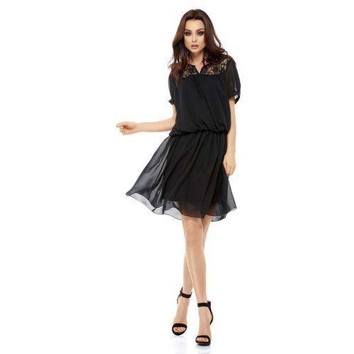 Czarna zwiewna szyfonowa sukienka boho z koronką marki Lemoniade