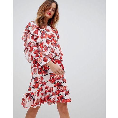 graphic floral frill midi shift dress - multi marki Y.a.s