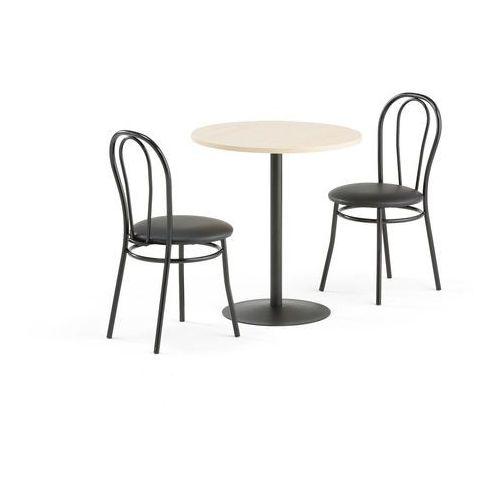 Zestaw mebli do stołówki astrid + aurora, stół, 2 krzesła, czarny marki Aj produkty