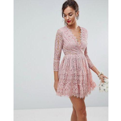 long sleeve lace mini prom dress - pink, Asos